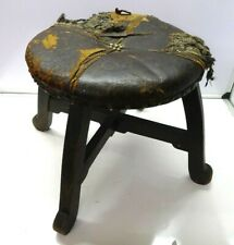 Antique Oak Distressed Small Milking Foot Seat Round Leather Top Studded Stool