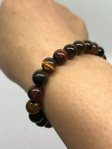 (17g)Tiger Eye BRACELET Stone Lucky amulet Suck wealth consecrate some magic K08