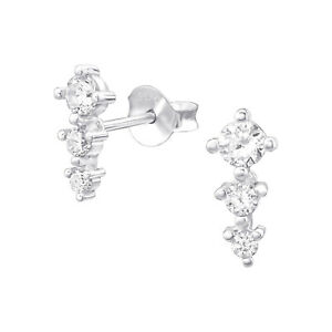 925 Sterling Silver Triple Crystal Cubic Zirconia Circle Stud Earrings