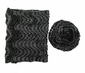 La Fiorentina Womens Black and Silver Infinity Scarf and Hat Set One Size