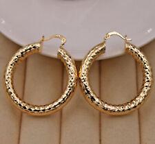 18K Gold Filled - 1.7'' Crude Tube Gypsophila Geometry Carved Circle Earrings