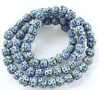 AFRICAN KROBO FANCY blue eye POWDER-GLASS recycled glass TRADE BEADS