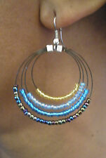 BLUE AND GOLD MULTI BEADED WIRE EARRINGS