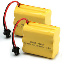 1/ 2pcs AA Ni-Cd 7.2V 700mAh Rechargeable Battery SM 2Pin Plug For RC Toy Cars