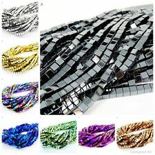 Natural Hematite Gemstone Square Cube Spacer Beads 16'' Silver Gold Multi-color