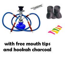 Hookah 2 Hose Decorative Smoking Nargila Glass Water Pipe Set W/ Tips Charcoal