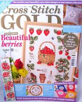 Cross Stitch Gold UK Magazine Issue 14 Oct 2009 Strawberry Patterns Poppies Bees