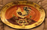 """Vintage Orange Rooster  Platter Sunflower Acorns  Large 17"""" X 11 1/2"""""""