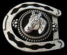 BELT BUCKLE HORSE HORSESHOE RODEO COWBOYS COWGIRLS WESTERN BOUCLE DE CEINTURES