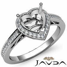 Diamond Engagement Filigree Ring Heart Semi Mount Halo Pave 14k White Gold 0.5Ct