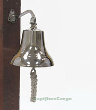 "Solid Brass Chrome Finish Ship's Bell 6"" Nautical Maritime Hanging Wall Decor"