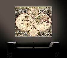 ALTE WELTKARTE Leinwand Bild Bilder Antique Map Kunstdruck Antik Grafik Drucke