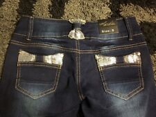 New KOUCLA Sexy Cute Skinny Jeans Small S Dark Wash Silver Sequin Pants Look