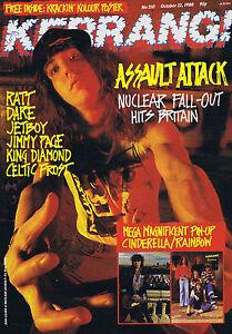 NUCLEAR ASSAULT Kerrang + CINDERELLA / RAINBOW POSTER no. 210 Oct 22 1988