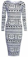 New Womens Striped Aztec Long Sleeve Ladies Bodycon Midi Dress Size 8 10 12 14