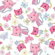 Fabric Kittens Cats Pink & Butterflies Tossed on White Cotton by 1/4 yard Bin