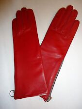 Long Red Zipper Genuine Leather Baroness Gloves