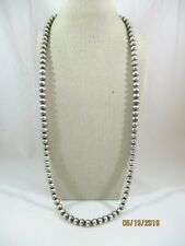 """Sterling Silver Mexico Heavy 8mm Wide Ball Bead Chain Necklace 30"""" Long"""