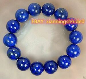 Big 12mm Natural Indigo Lapis Lazuli Round Gemstone Beads Stretchy Bracelet 7.5
