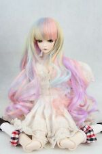 """BJD Doll Hair Wig 6-7"""" 1/6 SD DZ DOD LUTS Pink Purple Five Colors Mixed Long Wig"""