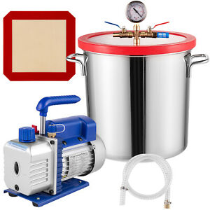 VEVOR 5 Gallon Stainless Vacuum Degassing Chamber Silicone 3CFM W/ Pump Hose