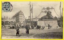 SPLENDIDE CPA Rare PARIS 1906 La FÊTE FORAINE au LION de BELFORT Manège Carousel