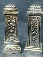Vintage Godinger Silver Plated Salt and Pepper Shakers Columns Art Deco Look