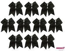 "10 BLACK Big 7"" Cheer Bow Pony Tail 3 Inch Ribbon Girls Hair Bows Cheerleading"
