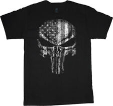 Mens Big and Tall T-shirts American Flag Skull Graphic Tees Bigmen Clothing