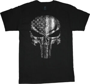 Mens Big and Tall T-shirts American Flag Skull Graphic Tees Bigmen Clothing