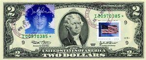 $2 DOLLARS 2003 STAR STAMP CANCEL THE MUSIC ICONS JOHN LENNON $500