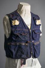 Vtg 70'S Walker The Ultimate Fishing Vest Denim Jacket Size M Hong Kong