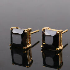 HUCHE 7mm Square Black Sapphire Crystal 24k Yellow Gold Filled Women Earrings