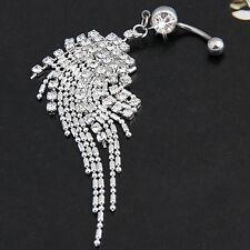 2x Tassel Rhinestone Crystals Barbells Navel Belly Bar Buttons  Body PiercingsRG