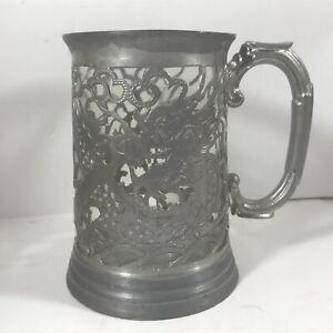 "Vintage Glass Tankard Metal Chinese Dragon 5"" Tall"