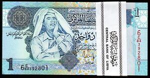 Libya 1 Dinar 2004, BUNDLE Pack 100 PCS, Consecutive, UNC, P-68b,Muammar GADDAFI