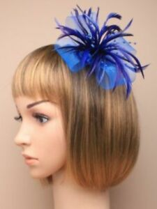 Royal Blue mesh and feather clip fascinator , weddings, races, ladies day