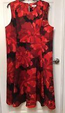 Calvin Klein Womens Plus Size 22W Red Floral Scuba Dress Fit & Flair Sleeveless