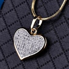 Engagement Love Heart Pendant Silver Gold Filled Women Crystal Necklace Chain