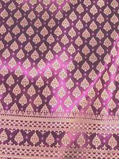 Purple Gold Thai Silk Damask Vintage Fabric BTY Wedding Dress Skirt Drape (PB)
