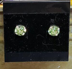 Authentic Swarovski 8mm Peridot Crystal Earrings by Shelia White - Studs
