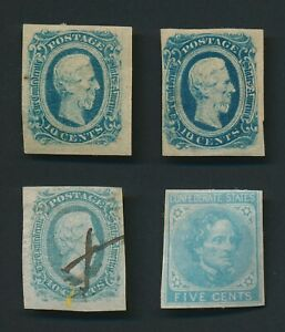 US CSA 1863-1864 10c DAVIS SHADES GENERAL ISSUE CONFEDERATE STATES STAMPS
