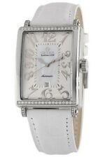 Gevril Women's 6209NT Glamour Automatic White Leather Diamond Date Watch