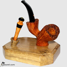 STUNNING SMOOTH SITTER POKER SMOKING PIPE KIT BY ITALIAN ARTISAN CASCIA