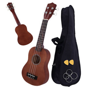 "Glarry 26"" In Uke Rosewood Fingerboard Basswood Ukulele w/Bag Pick Strings Brown"