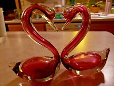 Rossi Cranberry Glass Swans with Original Label Cranberry Glass Made Canada