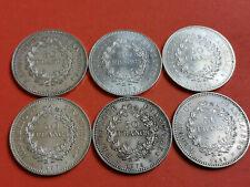 Lot 6 pièces argent 50 Francs Hercule an 1974 / 75 / 76 / 77 / 78 / 79 Lot n° 5