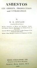 ASBESTOS Its Origin Production & Utilization SINCLAIR Mining Publications 1955
