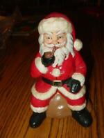 "VINTAGE Ceramic SANTA w/ Pipe - Handpainted Collectible Christmas Figure - 8"" in"