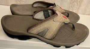 Teva Mens Elixer 6972 Beige Slip On Comfort Suede Flip Flop Sandals Size US 10